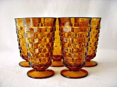 Amber Glasses Jeanette Glassware Cubist Pattern by GSaleHunter $39 plus $16 shipping