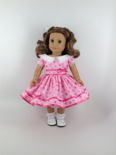 American Girl 18-inch Doll Clothes - 1950's Dress in Two-Toned Pink & Petticoat