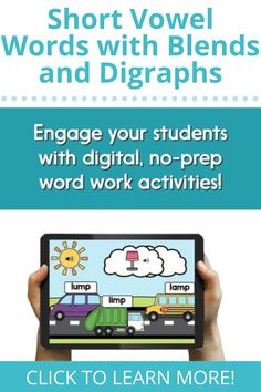 Help your students master short vowel words with blends and digraphs (including word families) with these digital phonics activities! Stop worrying about students forgetting directions or not being able to identify pictures - audio directions and support are included! Phonemic Awareness Activities, Phonological Awareness, Word Work Activities, Phonics Activities, Blends And Digraphs, Balanced Literacy, Short Vowels, Stop Worrying, Word Families