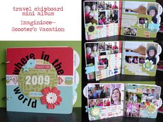 Inspiration on using photo collage templates to speed up minibooking :: Travel Chipboard Mini :: Mini by Aly Dosdall