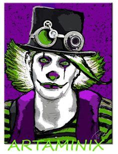 Clown #dark #green #violet #halloween #art #portrait #handmade #gift