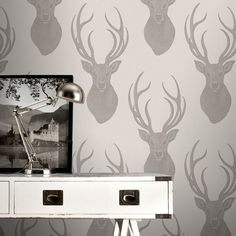 Rasch Stag Taupe Glitter Wallpaper - 273700