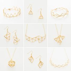 DIY geometric necklaces <3