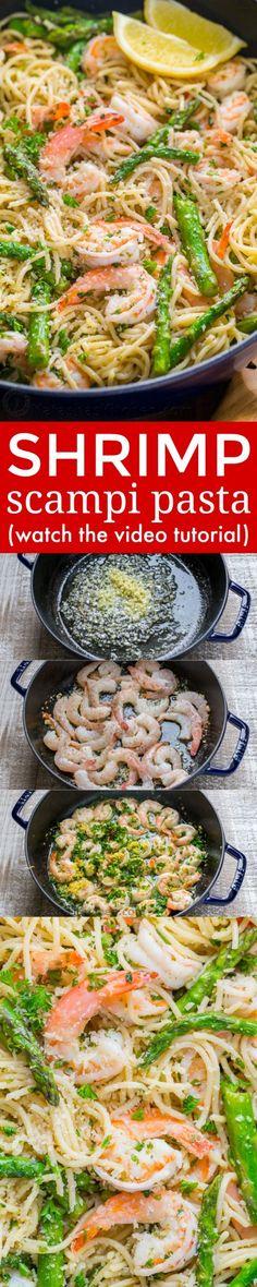 Shrimp Scampi Pasta with Asparagus has a lemon garlic and herb sauce that packs so much fresh and amazing flavor. A 30 minute shrimp scampi pasta recipe! | http://natashaskitchen.com