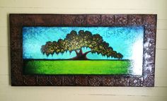 Faux Framed Abstract Live Oak Tree Art 24x48 by Derek Patterson  Tree Paintings