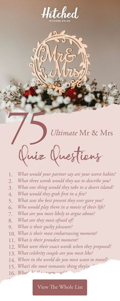 These 75 brilliant Mr and Mrs questions will break the ice at your hen or stag party and reveal some interesting facts about the couple! For every answer the bride or groom gets wrong, they must take a shot! Mr And Mrs Game, Mr Mrs, Hens Party Themes, Hen Party Decorations, Party Ideas, Party Questions, Dinner Party Games, Hen Party Bags, Stag And Hen