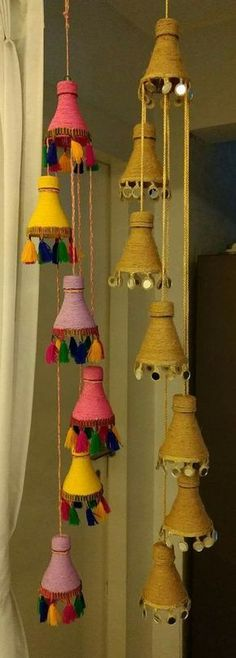 Cute idea to reuse plastic bottles. Could even add string lights. Total waste, Diwali creations made out of bottles, How to make floor mats/rugs wi,How to make decorative hanging from bottle - Simple Craft Crafts Plastic Bottles I Diy Crafts Hacks, Diy Home Crafts, Diy Arts And Crafts, Creative Crafts, Easy Crafts, Easy Diy, Empty Plastic Bottles, Plastic Bottle Crafts, Diy Bottle