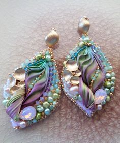 """Silk Leaf Earrings"" design by Serena Di Mercione --- bead embroidery  shibori silk ribbon:"
