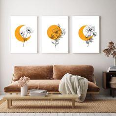 Yellow Wall Art, Yellow Walls, Room Wall Decor, Bedroom Decor, 3 Piece Wall Art, Easy Canvas Painting, Moon Print, Mid Century Art, Poster Wall