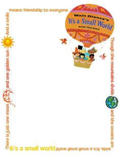 "It's A Small World - Project Life Journal Card - Scrapbooking. ~~~~~~~~~ Size: 3x4"" @ 300 dpi. This card is **Personal use only - NOT for sale/resale** Logos/clipart belong to Disney. Sun, Earth & Moon from www.clker.com . Font is Coolvetica http://www.dafont.com/coolvetica.font  ***Click through to photobucket for more versions of this card :) ***"