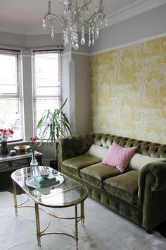 Swoon Worthy: House Tour some of my living room colors, and i dig the picture rail on the gray wall, like i want to do. Dado Rail Living Room, My Living Room, Living Room Decor, Dining Room, Living Spaces, Mustard Living Room Wallpaper, Mustard Living Rooms, Room Color Schemes, Room Colors