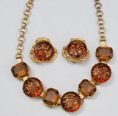 Vintage Czech Glass Gold Intaglio Floral Necklace Earrings Set Topaz Golden