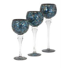 Enticing Peacock Mosaic Votive Holders - Set of 3