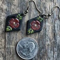 Hand Tooled Floral Leather Earrings Petite Diamond Shaped