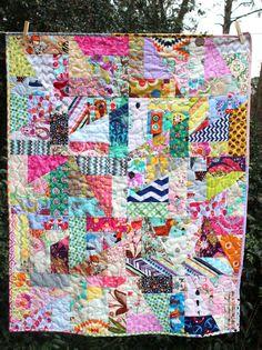 Modern Baby Quilt Scrap Baby Quilt Scrappy Quilt by GoBeWonderful