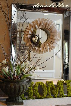 Love this mantel idea for an entry way