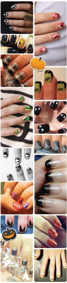 eyes / blood / spider / spiderwebs / Frankenstein / skeleton / candy corn / stripes nail art / designs - HALLOWEEN NAILS - holidays - nail polish