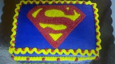 Two Layered Vanilla Superman Cake with Buttercream Icing Superman Birthday Party, 5th Birthday Cake, Dad Birthday Card, Boy Birthday, Birthday Ideas, Birthday Parties, Bolo Do Superman, Superman Cupcakes, Dad Cake