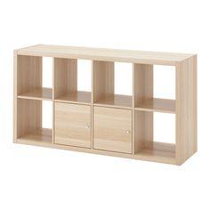 KALLAX Regal mit Türen - Eichenachbildung weiß las. - IKEA