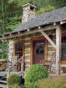 fishing cabins ~Pictured at right is Tadpole Cottage, one  of  five cabins comprising Toad Hall, a rustic compound in the Great Smoky Mountains of Tennessee . . .