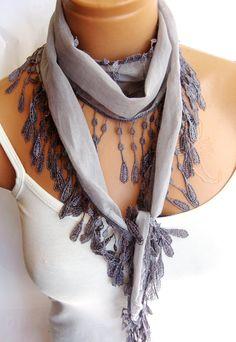 Fashion Gray Scarf Summer trend scarf Turkish by WomanStyleStore, $11.90
