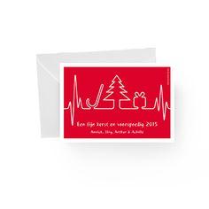 Kerstkaart uitgevoerd in letterpress. www.dekaartjefabriek.be
