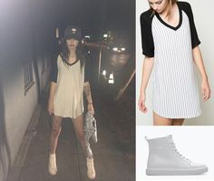 Acacia went to the ASOS event wearing this Brandy Melville dress for $23, these Zara sneakers for $80, and she was also wearing her sold out denim Topshop jacket and these Urban Outfitters glasses for $14!