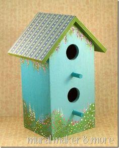 birdhouse painting ideas   Painted Flower Garden Birdhouse Tutorial - DIY Talent Mural Maker ...
