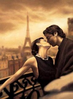 Romantic kiss in paris