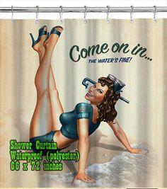Retro Pin Up Girl 04 / Shower Curtain/ Custom Design/ by homeproo, $29.99