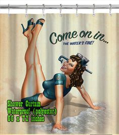 Retro Pin Up Girl 04 / Shower Curtain/ Custom Design/ by homeproo, $29.99
