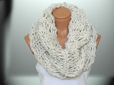 2014 Trend Woman Scarves,Winter scarves, Knitted Accessory, bone-white spotted scarf. Loop Scarf, Circle Scarf, Chunky, Cowl, SCARVES by WomanStyleStore