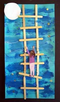 "Could be cute Mother's/Father's day artwork. ""I love you to the moon and back"" Well I have a Father's Day gift for my kids at work to make now! Art For Kids, Crafts For Kids, Arts And Crafts, Arte Elemental, Classe D'art, Fathers Day Crafts, Classroom Crafts, Mother And Father, Art Activities"