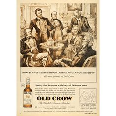 1957 Ad Old Crow Bourbon Whiskey Kentucky Webster Twain.  Can't believe Harry Caray wasn't in this picture, even in 1957!