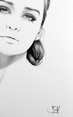 Realistic Pencil Drawings by Ileana Hunter -Emilia clarke commission - pencil portrait black and white illustration Realistic Pencil Drawings, Fine Art Portraits, Pencil Art, Sketches, Illustration, Art Drawings, Original Drawing, Art Inspiration, Portrait