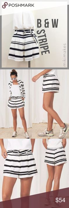 FINDERS KEEPERS • NWT striped black & white shorts Brand new Finders Keepers white & black striped shorts.  Comes with matching D-ring belt.  Single pleat at the front with metal zipper fly.  Has single back welt pocket. Finders Keepers Shorts