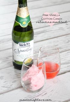 Pink Vanilla Cotton Candy Valentine Mocktail recipe from createcraftlove.com!