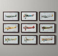 Vintage Prop Plane Art | Art | Restoration Hardware Baby & Child- make into mobile over crib.