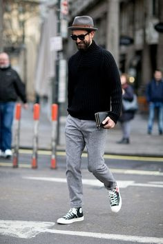 Shop this look on Lookastic: https://lookastic.com/men/looks/black-shawl-neck-sweater-grey-dress-pants-black-and-white-high-top-sneakers/16861 — Grey Wool Hat — Black Shawl Neck Sweater — Grey Wool Dress Pants — Black and White Canvas High Top Sneakers
