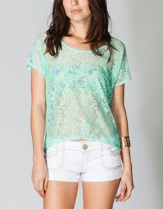 Essentials by Full Tilt knit tee. Knit back with allover slub effect. White Shorts, Knit Tops, V Neck, Tilt, Lace, Clothes, Women, Fashion, Colorful Fashion