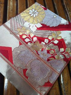 Vintage Japanese Obi Panel in Red Gold & by KellyMakesRainbows, $25.00