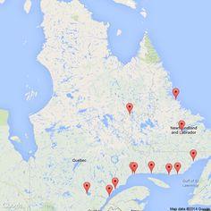 Communautés Innues d'ouest en est:  Mashteuiatsh (Pointe-Bleue Lac St-Jean),  Essipit (Les Escoumins),  Pessamit (Betsiamites),  Uashat mak Mani-utenam (Sept-Îles & Malioténam),  Matimekush-Lac John (Schefferville), Ekuanitshit (Mingan),  Natashquan, Unaman-shipu (La Romaine) et Pakut-shipu (Saint-Augustin).  Les deux communautés innues du Labrador sont Tshishe-shastshit (Goose Bay)  et Natuashish (Davis Inlet).