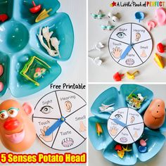 Learning about the 5 Senses Potato Head Game and Free Printable: All you need is a tub of Mr. Potato Head parts, download the free spinner, and you are ready to play. It's the perfect way for kids to learn about their body (sight, hearing, taste, touch, smell) and sensory organs (eyes, ears, tongue, nose, hands/skin).