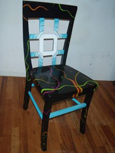 Space Energy Painted Chair by Jennnifer Brown  - A very sturdy up-cycled chair which has been given lots of new life. Handpainted with a primer, acrylic paint, and many coats of a poly-acrylic finish