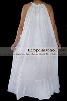 No.472- Size XS-5X Hippie Boho Clothing Gypsy White Plus Size Strap Summer Maxi Dress, S,M,L,1X,2X,3X,4X,5X Dress