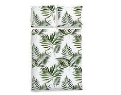 Pościel z nadrukiem liści palmy w soczystym, zielonym kolorze. Pościel wykonana z 100% wysokogatunkowej bawełny o satynowym splocie.