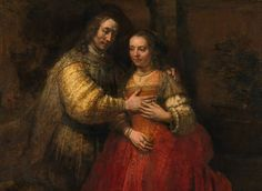 """Portrait of a couple as figures from the Old Testament, known as 'The Jewish bride'."" (c 1665 - 1668) By Rembrandt Harmenszoon van Rijn, from Leiden, Netherlands (1606 - 1669) - oil on canvas; 121.5 x 166.5 cm; 47.8 x 65.6 in - © The Rijksmuseum Amsterdam, Amsterdam  30 June 1885: lent to the Rijksmuseum Amsterdam, Amsterdam. by the city of Amsterdam https://www.rijksmuseum.nl/"