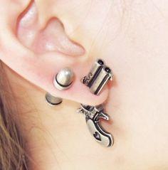 Set of 3D Gun & Bullet Stud Fake Gauge Earrings - Cool Rock Punk Style