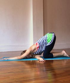 Thread the Needle | From all fours, reach your right arm underneath your body, allowing your right shoulder and temple to release to the ground. Your left hand can stay where it is, or crawl a bit to the right over your head. Breathe here for 10 deep breaths, then repeat on the other side.
