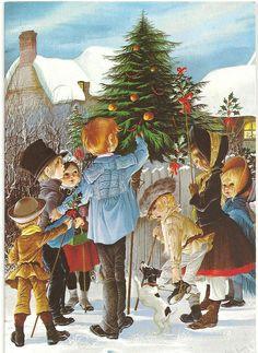 janet and anne grahame johnstone - Bing images Vintage Halloween Cards, Vintage Christmas Cards, Vintage Holiday, Christmas Pictures, Vintage Cards, Xmas Cards, Christmas Illustration, Illustration Art, Mermaid Stories